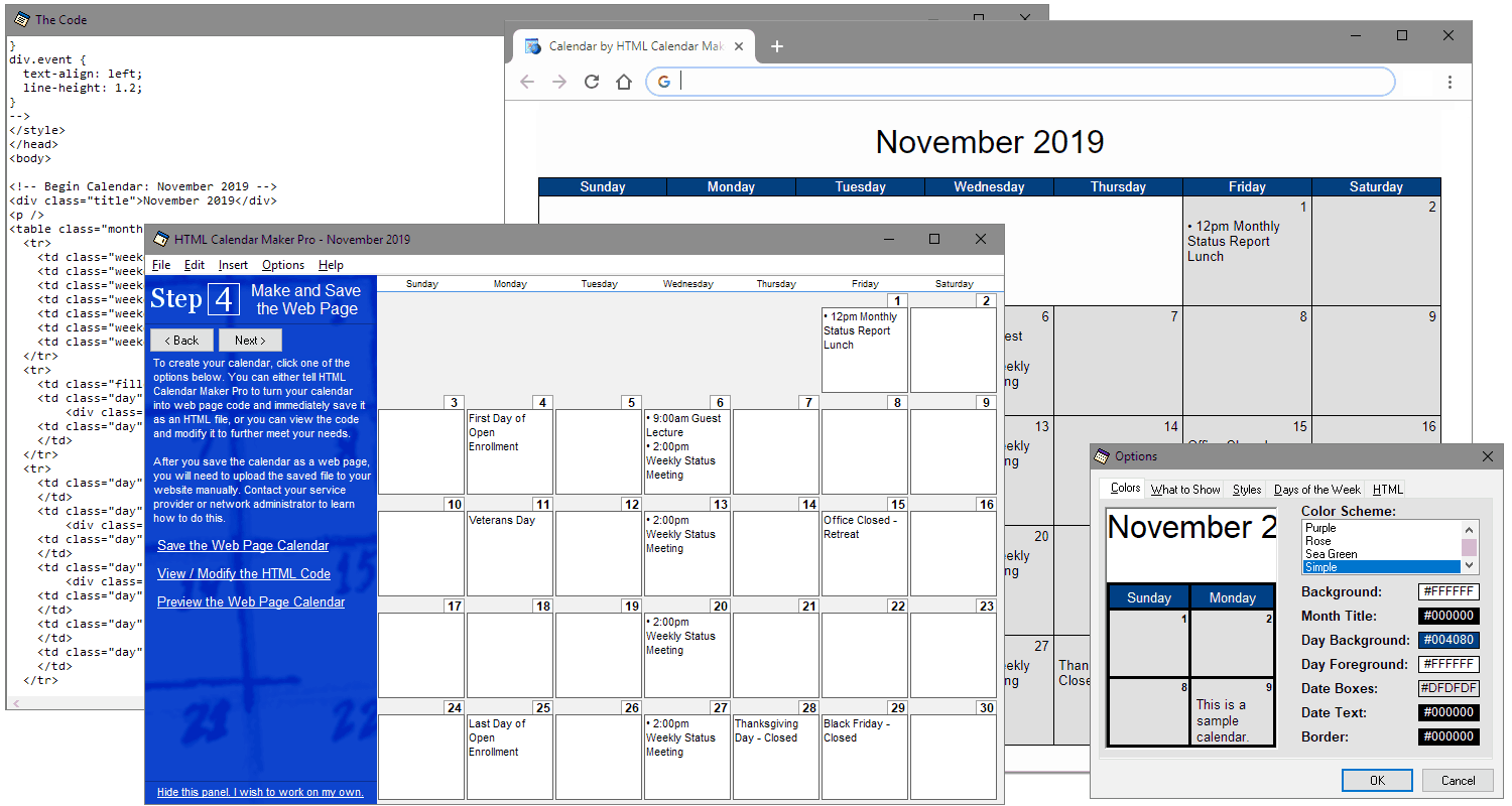 Download HTML Calendar Maker Pro for Windows